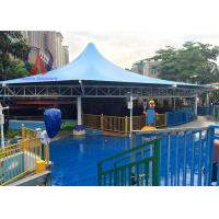 Membrane Cover Shade Pool Awnings Canopies , Cable Strained Swimming Pool Shade Structures