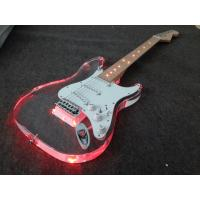 Wholesale ST Model Electric Guitar Red Color LED light Acrylic Electric Guitar including softbag from china suppliers