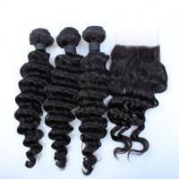 Wholesale Malaysian Deep Wave Closure Malaysian Curly Hair Virgin Hair Bundles With Lace Closure from china suppliers