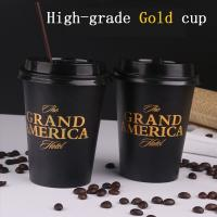 Disposable paper cup Thickening coffee cup Milk tea cup hot drink cup High-grade gold printed cup with plastic lid