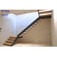 Wholesale Meet International Standard Invisible Beam Wood Glass Staircase from china suppliers