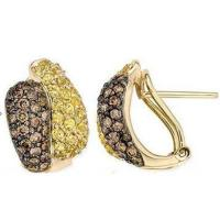Wholesale Earring Yellow Sapphire & Brown Diamond  Yellow Gold from china suppliers