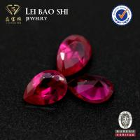 Quality loose wholesale 9*6mm pear shaped ruby #5 synthetic red corundum stone for sale