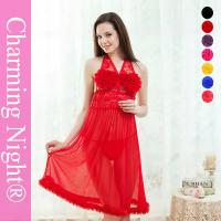 Wholesale Fur Edge Ruffle Neck Transparent sexy night dresses for girls , sexy nightwear dress from china suppliers