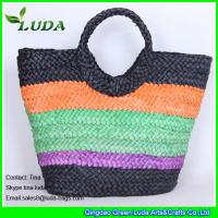 Colorful Cornhusk Straw Beach Bag For Summer