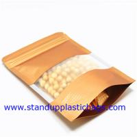 Wholesale Dried Food Packaging Kraft Zipper Pouch Bags With Sticker , Clear Window from china suppliers
