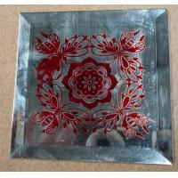 Wholesale silk printing glass decorative mirror red flower art glass from china suppliers