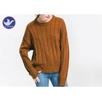 Wholesale Anti - Pilling Brown Womens Knit Pullover Sweater Soft Rib Knitting Apparel from china suppliers