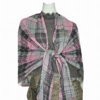 Wholesale Promotional Pink and Grey Checked Shawl, ODM and OEM Orders are Welcome from china suppliers