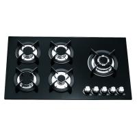 Wholesale Black Glass Gas Hob 5 Burners 90cm , Built In 8mm Tempered Glass Top Gas Hob from china suppliers