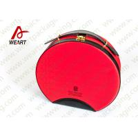 Wholesale Customized Red Round Makeup Organizer Box , Leather Handle Cosmetic Pouch Bag from china suppliers