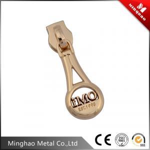 Wholesale Design gold metal zipper slider,embossed letter logo bag zipper puller from china suppliers