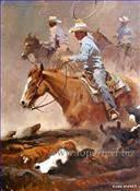 China Impressionism Oil Painting Indiana, Cowboy Kid Paintings on sale
