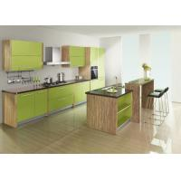 Wholesale Apple Green Wood Grain UV Kitchen Cabinet With Coffee Solid Surface Countertops from china suppliers