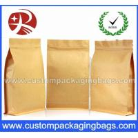 Wholesale Top Zipper Kraft Paper Coffee Packaging Bags With Square Bottom from china suppliers