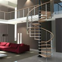 Wholesale Luxury Wood Tread Stainless Steel Railing Indoor Use Spiral Staircase from china suppliers
