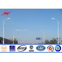 Wholesale 12m Q235 Hot Dip Galvanized Street Lamp Pole With Cross Arm 1.8 Safety Factor from china suppliers