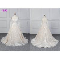 Wholesale Bridal Long Sleeves Lace Designs A Line Ball Gown Wedding Dress Custom Made from china suppliers