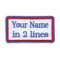 Wholesale Rectangular 2 Line Custom Embroidered Name Tag Patch from china suppliers