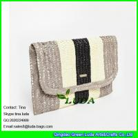 Wholesale LUDA striped lady clutch handbags wheat straw summer evening handbags 2016 from china suppliers