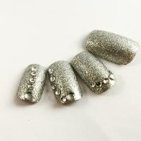 Wholesale Full Cover Silver Glitter Diamond Fake Nails Charming 3D False Nail Tip from china suppliers