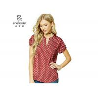 Wholesale Paisley Print Womens Chiffon Tops Red Short Sleeves Slit Neck Chiffon Top from china suppliers