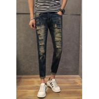 Wholesale Knee Holes Fancy Ripped Mens Tapered Jeans Innovative Drop Crotch Design from china suppliers