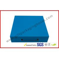 Wholesale Sky Blue Print Rigid Board Packaging Boxes , Chocolate damask inner with Plastic handle from china suppliers