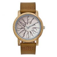 Buy cheap Wholesale Fashion Genuine Leather Strap Wood Case Quartz Lovers Wrist Watches 5001 from wholesalers