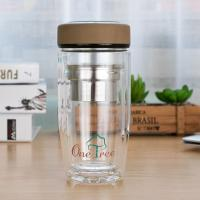 Wholesale Eco Friendly Double Wall Glass Water Bottle Wide Mouth Heat Resistance from china suppliers
