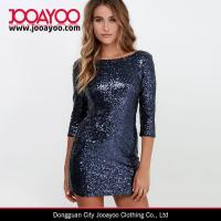 Wholesale Three-quarter Sleeve Shining Navy Blue Sequin Casual Sexy Bodycon Mini Dress from china suppliers