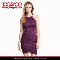 Wholesale Sleeveless Open Back Short Lace Top With A Tie Around Neckline Office / Party Dress from china suppliers