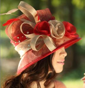 China White/Peach Winter Women Church Sinamay Hats/Sinama Hat/Sinamy Hat on sale