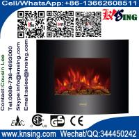 """Wholesale 26""""Black Curved Tempered Glass Wall Mounted Electric Fireplace Heater(Log Fuel) hot sale room heater led flame effect from china suppliers"""