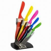 Wholesale Stainless Steel Kitchen Knife Set with Acrylic Block, Different Colors Accepted from china suppliers
