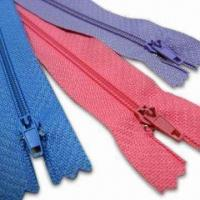 Wholesale Nylon Zippers with Slider, Comes in Red, Blue, and Violet, Available in Various Sizes from china suppliers