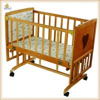 Wholesale Small Swing Wooden Baby Cribs With Brakes Wheels , Modern Baby Cribs from china suppliers