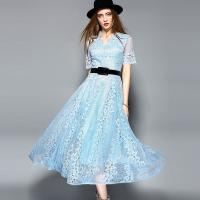 Quality Black wholesale  Belted Lace Dress for Women Clothing with zipper for sale