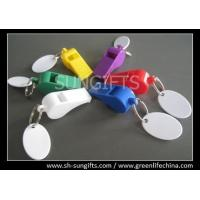 Wholesale Colorful plastic promotional whistles with plastic white oval tags good alert promo gift from china suppliers