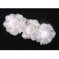 Wholesale 16cm White Handmade Fabric Flower Corsage With Rhinestone Ornament 120D Chiffon Garment Trimmings from china suppliers