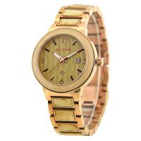 Wholesale Gold Stainless Steel Mens Watches , Luxury Wood Band Steel Watches For Mens from china suppliers