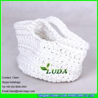 Wholesale LDMX-001 White Fashion Kids' Cotton Rope Crochet Small Straw Basket Bag from china suppliers