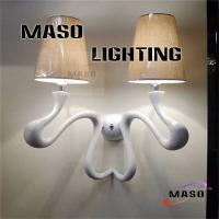Wholesale Hot sale Maso Contemporary Wall Lamp Resin Material Two Lamp Holders E14 Screw Light Source Fiber Cover for Hotel Lobby from china suppliers