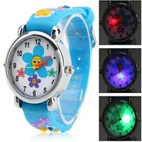 Wholesale Children Colorful Flashing 3D Cartoon Silicone Wrist Watch , Flower Printing Wrist Watch from china suppliers