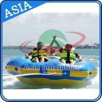 Quality Sealed Towable 4 Person Inflatable Boats Yellow / Blue Rolling Donut Boat for sale