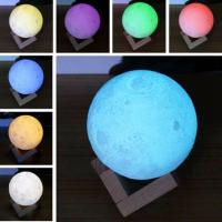 Buy cheap 3D Printing Moon Light,Tap Control Rechargeable Moon Lamp with Multi-colors LED Lunar Night Light from wholesalers