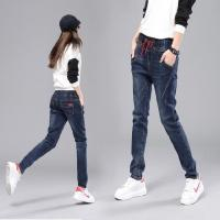 Wholesale High Waisted Womens Loose Fit Jeans , Ladies Straight Legged Jeans With Elastic Waist from china suppliers