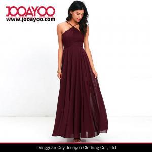 Wholesale Elegant Adjustable Strap Lace Bodice Burgundy Maxi Chiffon Evening Dress from china suppliers