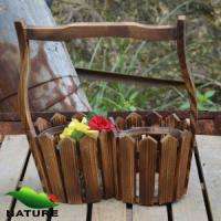 Wholesale Wood product » Wood planter & pot » Garden Wood Basket Shaped Flower Planter from china suppliers