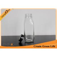 Wholesale Clear 10oz Decorative Glass French Square Bottles with Tamper Evident Cap for Milk from china suppliers